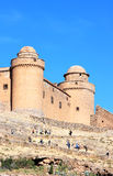 Visiting haunting Castle of Calahorra, Spain. Looming over the village of La Calahorra and the plateau of the Marquesado in the northern foothills of the Sierra Stock Images