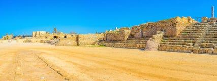 Visiting the hippodrome of Caesaria Stock Photo