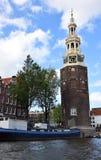 Montelbaanstoren, Montelbaans Tower on Oudeschans in the city of Amsterdam, Holland, Netherlands stock photos