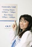 Visiting Hours. A nurse pointing to the hospital visiting hours sign Royalty Free Stock Image