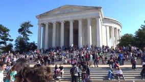 Visiting the Jefferson Memorial stock video