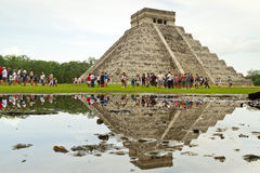 Visiting Kukulkan pyramid in Chichen Itza Royalty Free Stock Photography