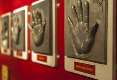 Celebrities hand prints gallery. Visiting Madame Tussaud`s museum. Berlin, Germany stock photo