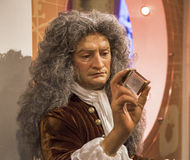 Visiting Madame Tussauds museum. Isaac Newton wax figure in Madame Tussauds museum. London, England Stock Image