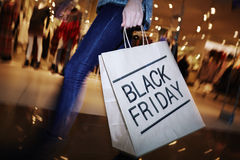 Visiting mall on Black Friday Stock Photography