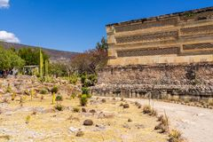 Visiting Mitla ruins and cactus garden. Occupied by Mystec and Zapotec civilizations during 14th century, after by Aztecs in 1494. It was a religious centre royalty free stock photos