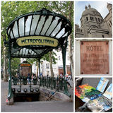 Visiting Montmartre in Paris. Collage of pictures related to Paris, and especially Montmartre Stock Images