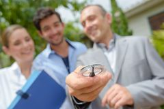 Visiting property with agent. Estate Stock Photos