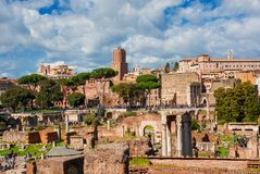 Visiting Roman and Imperial Forum in Rome royalty free stock image