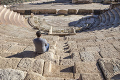Visiting the Roman theatre of Medellin, Spain Stock Photography