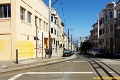 Slanting streets of San Francisco with tram tracks. Visiting San Francisco with its tram Stock Photo