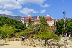 Visiting San Pablo church at Mitla. San Pablo church was built in 1590 on site of old Aztecs ruins at Mitla, Mexico stock image