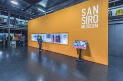 Visiting San Siro stadium museum. Museum exposition of San Siro arena - the official playground of FC Milan and Inter. Italy stock images