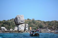 Visiting stones stacking at Koh Hin Sorn Island, in Satun, Thailand royalty free stock images