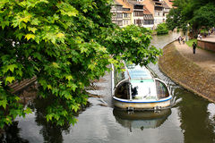 Visiting Strasbourg by boat-bus Stock Image