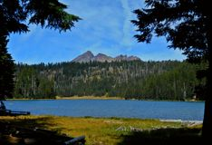 Visiting Todd. Todd Lake - near Bend, OR - Broken Top in the background - Cascade Range royalty free stock image