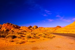 Sandy canyon hill in the desert stock images