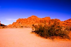 Sandy canyon hill in the desert stock photo