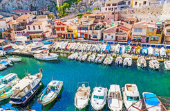 Visiting Vallon des Auffes haven royalty free stock photography