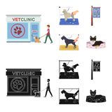 Visiting a vet clinic, a signboard of a stylish salon for a pet, a haircut of dogs. Vet clinic and pet,dog care set. Collection icons in cartoon,black style Stock Photo