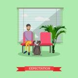 Visiting veterinarian doctor, vector illustration in flat style design Stock Photo