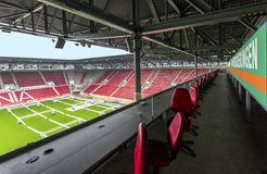 Visiting WWK Arena. At the commentators area at WWK Arena - the official playground of FCC Augsburg. Germany stock photo