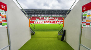Visiting WWK Arena. Players` tunnel leading onto the grounds at WWK Arena - the official playground of FC Augsburg. Germany royalty free stock images