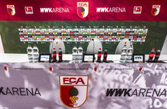 Visiting WWK Arena. In the press room at WWK Arena - the official playground of FC Augsburg. Germany stock photos