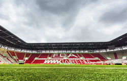 Visiting WWK Arena. Splendid grass of WWK Arena - the official playground of FC Augsburg. Germany stock image