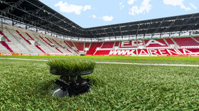 Visiting WWK Arena. Splendid grass of WWK Arena - the official playground of FC Augsburg. Germany royalty free stock photography