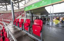 Visiting WWK Arena. Sponsors boxes At the tribunes of WWK Arena - the official playground of FC Augsburg. Germany royalty free stock images