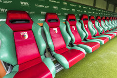 Visiting WWK Arena. At the team`s bench of WWK Arena - the official playground of FC Augsburg. Germany royalty free stock image