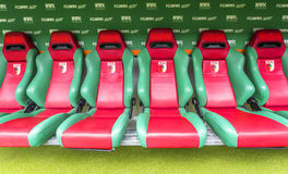 Visiting WWK Arena. At the team`s bench of WWK Arena - the official playground of FC Augsburg. Germany stock photos