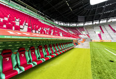 Visiting WWK Arena. At the team`s bench of WWK Arena - the official playground of FC Augsburg. Germany stock images