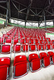 Visiting WWK Arena. At the tribunes of WWK Arena - the official playground of FC Augsburg. Germany royalty free stock image