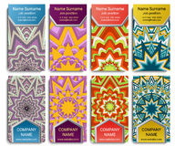 VisitingCardSet00-20. Set of vector visiting card with mandala. Geometric mandala pattern and ornaments. Front page and back page vector illustration