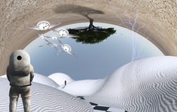 Visitor. Astronaut stands in surreal white desert. Green tree upside down. Figure of man in a distance. Winged clocks represents flow of time Royalty Free Stock Photo