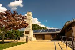 Visitor Center at Cowpens National Battlefield. Gaffney, South Carolina, USA - September 18, 2017: Stone monument and visitors center at Cowpens National stock photos