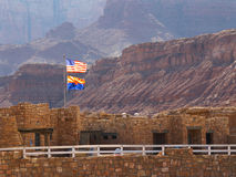 Visitor Center Flags. U.S. and Arizona flags above visitor center for Navajo Bridge at Marble Canyon Stock Image