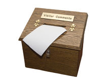 Visitor comments. Wooden box for visitor comments. Great for guestbook, etc. Isolated on white background royalty free stock photo