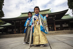 Visitor dresses up a traditional dree at Meiji-jingu shrine Royalty Free Stock Photography