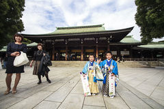 Visitor dresses up a traditional dree at Meiji-jingu shrine Royalty Free Stock Image