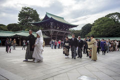 Visitor dresses up a traditional dree at Meiji-jingu shrine Royalty Free Stock Photos