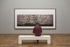 Visitor of an exhibition at the staedel art museum, Frankfurt, Germany royalty free stock photography