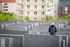 Visitor at the Holocaust Memorial in Berlin Royalty Free Stock Images