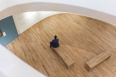 Visitor within the Interior of Soumaya museum Museo Soumaya. MEXICO CITY - NOV 1, 2016: Interior of Soumaya museum Museo Soumaya. Soumayo Museum has over 66,000 Stock Photography