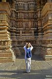 Visitor at Khajuraho, UNESCO world heritage site. Stock Photo
