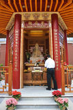 Visitor in the Lingyen Mountain Buddhist Temple, Richmond, Canada Stock Image
