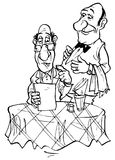 Visitor ordering his favorite dish to waiter. Black and white illustration of guest ordering his favorite dish in restaurant Stock Image