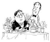 Visitor ordering his favorite dish to waiter. Black and white illustration: guest ordering his favorite dish in restaurant Royalty Free Stock Photo